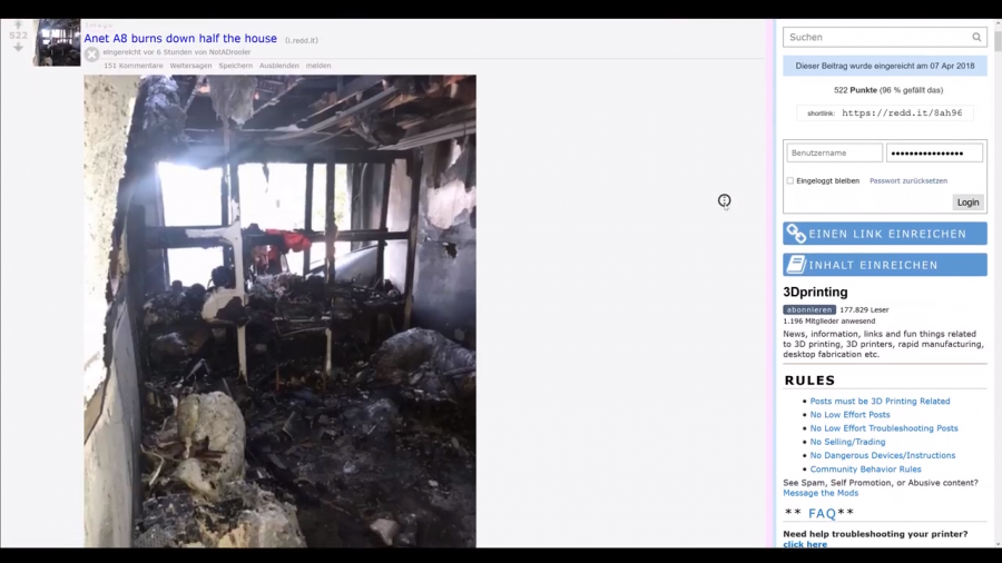 Anet A8 burns down half the house